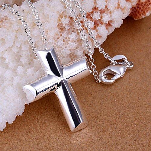 Style Women Men 925 Sterling Silver Plated Cross Shape Necklace Pendant Gift ()