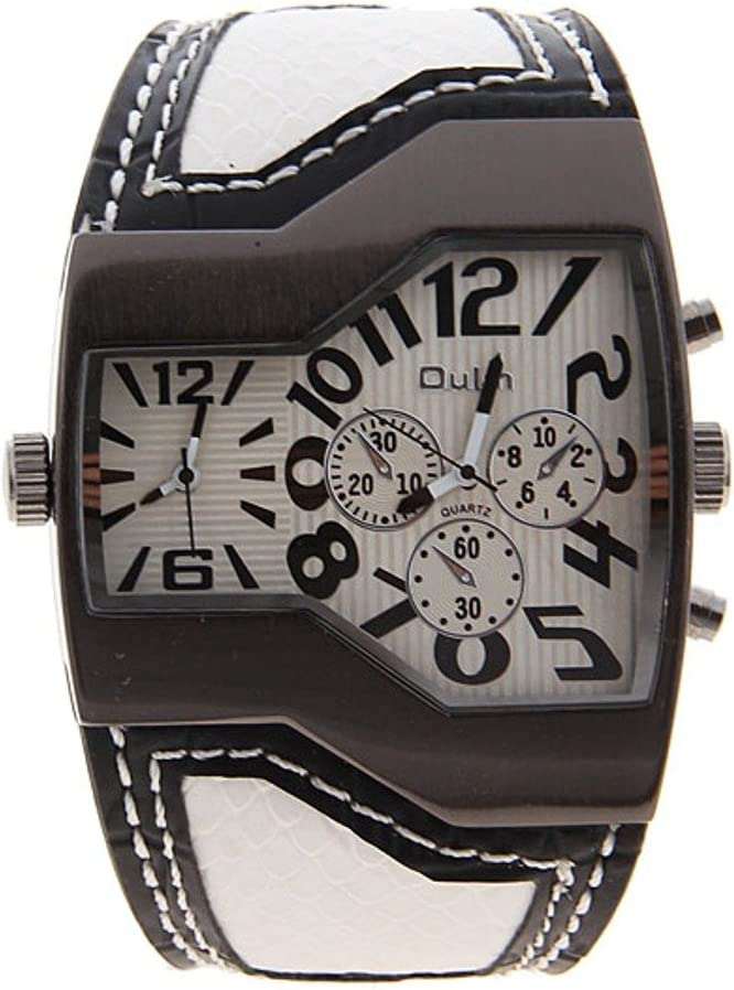 Oulm Top Brand Military Men s Watch with Dual Movt Dial Leather Band Quartz Watch-White