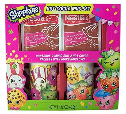 Kisses Cocoa Hot - Shopkins Mug Set with Nestle Hot Cocoa for Christmas Holiday Gift Set