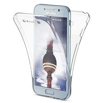 NALIA Funda 360 Grados Compatible con Samsung Galaxy A3 2017, Delantera Trasera Protectora Movil Silicona Carcasa, Ultra-Fina Transparente Doble ...