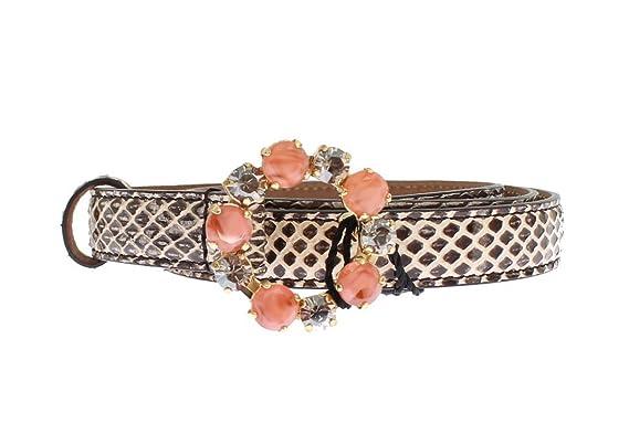 Dolce   Gabbana - Gris Peau de serpent Cristal Boucle de ceinture ... 37ff59ae467
