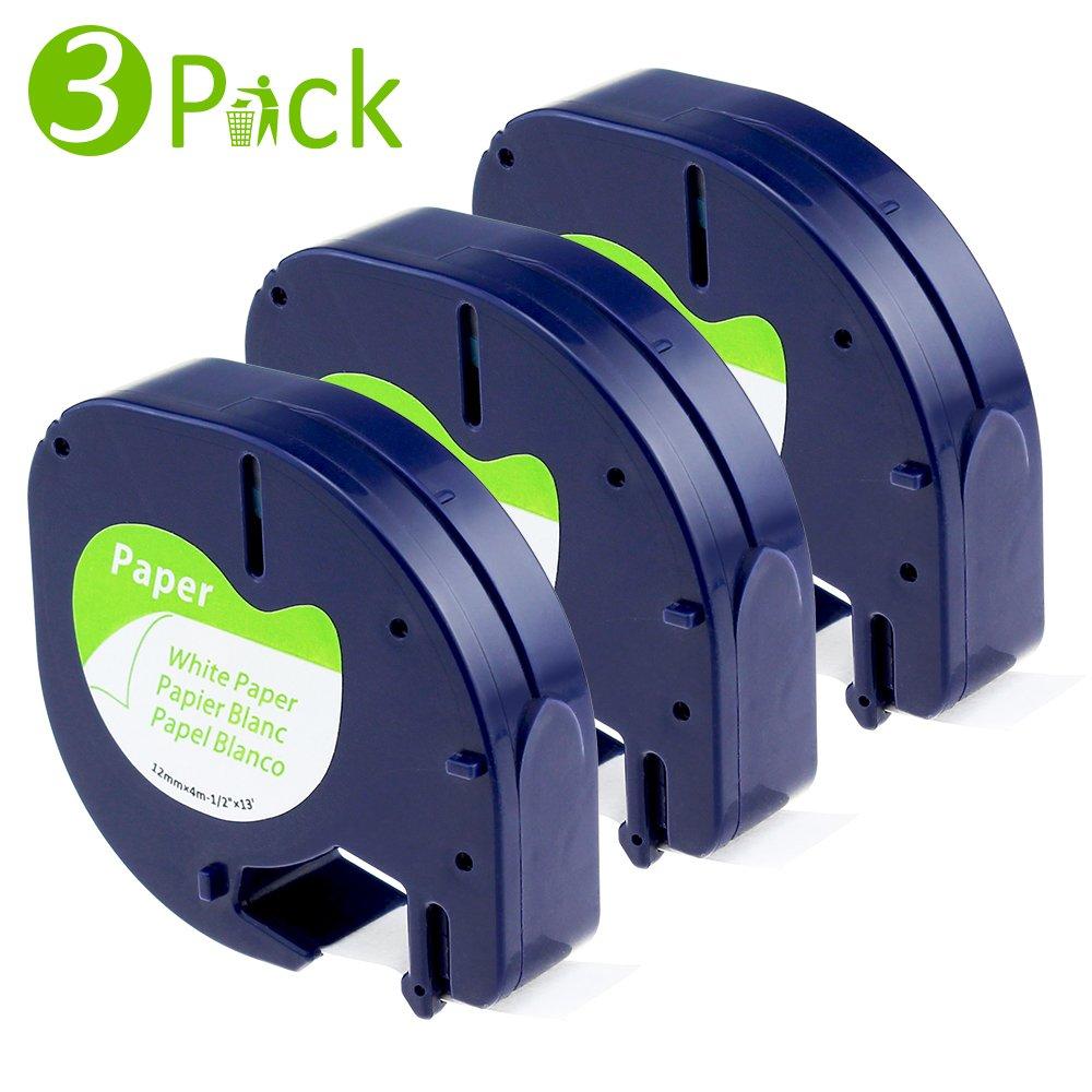 Fimax kompatibel Kunststoff Etikettenband (Modell S0721660 91221 91201) für Dymo LetraTag LT QX50 XR LT-100H LT-100T XR XM 2000 / schwarz auf weiß / 12mm x 4m / 3er Packung Fimax Tech