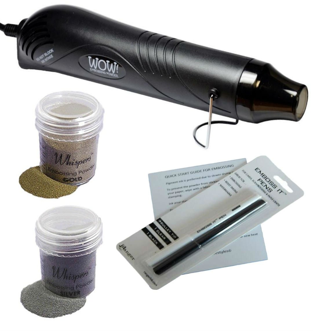 Embossing Kit with Embossing Heat Tool, 2 Embossing Powders (black heat tool) Various 4336866780