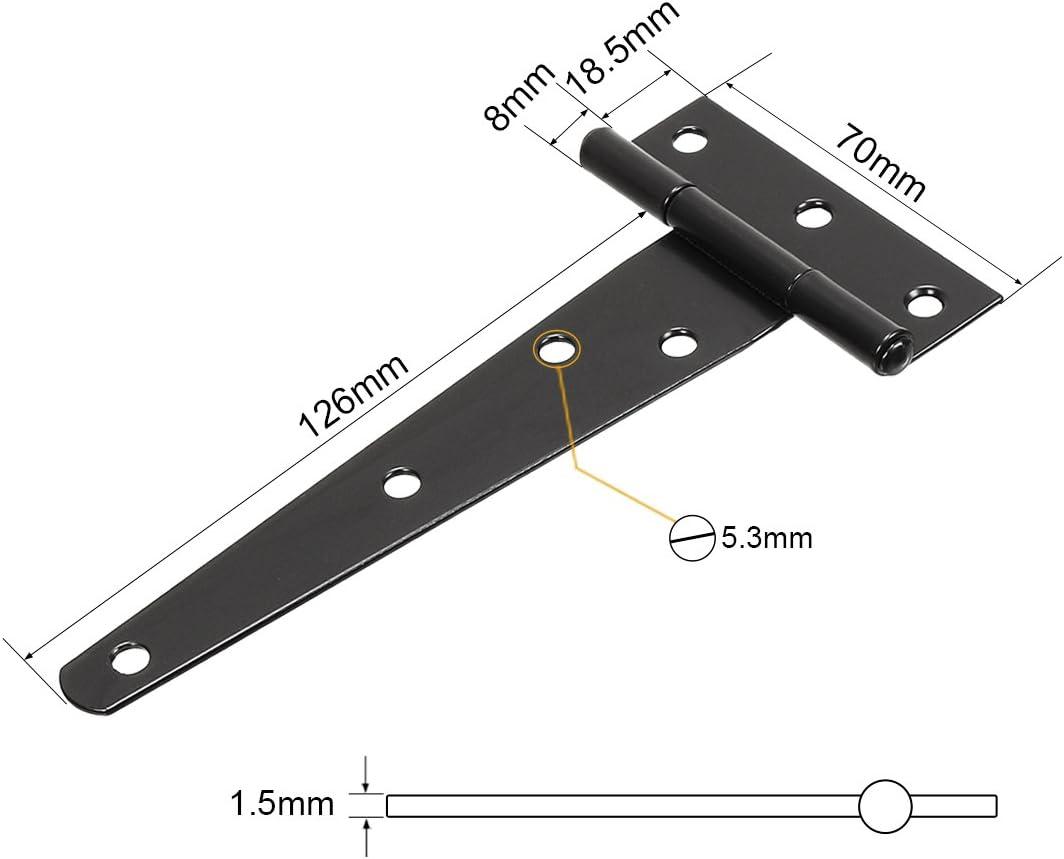 uxcell 6 Inch Carbon Steel Zinc Plated Rustproof Light-Duty T Strap Door Hinge Black 2pcs