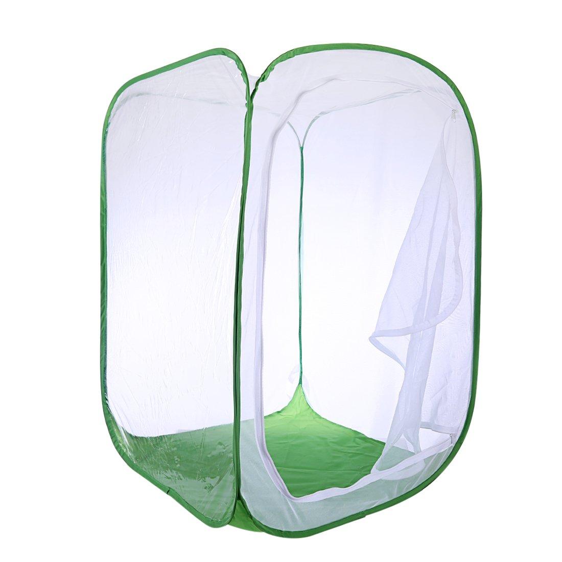 Ovitop Insectes et Papillons Cage d'habitat Cage Pliante Cage de légume, 40x40x60cm-Blanc Noir M
