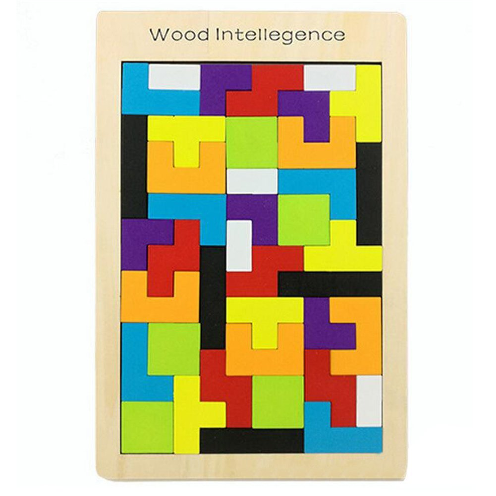 Finababy Baby Early Education Tetris Wood Toys Brick for Kids Intelligence Development Patch Puzzle Board for Toddlers 3-7 Years Old