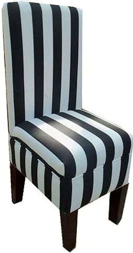 Bon Black And White Striped Dining Vanity Chair