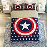 Judy Dre am Home Textiles Cartoon Captain America Bedding Set Single/Double 4pcs Duvet Cover Set Star 100% Cotton Quilt Cover Sets Queen Size