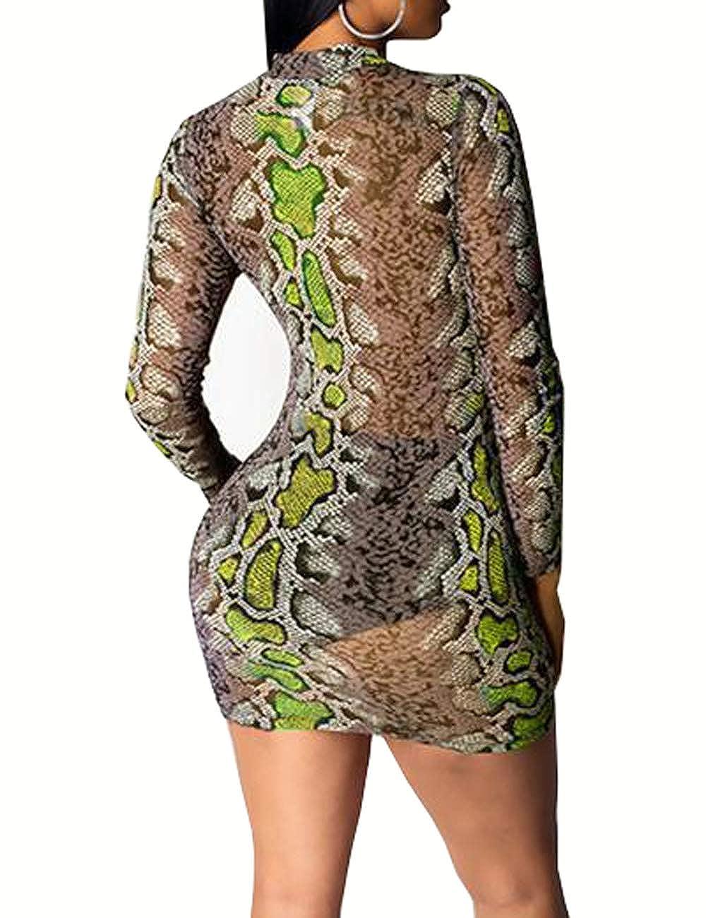 Mini Abito a Maniche Lunghe ShinyAmber Vestito Aderente da Donna con Stampa a Serpente in Rete Trasparente