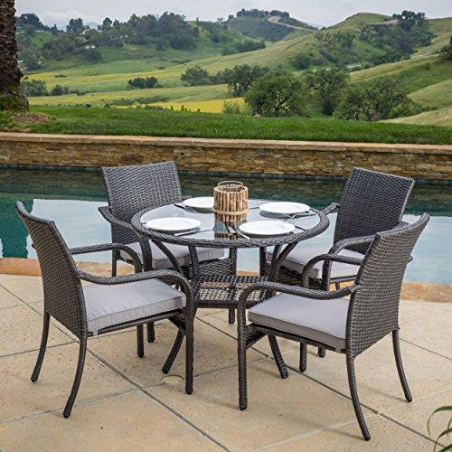 Kadelyn Outdoor 5pc Grey Wicker Dining Set