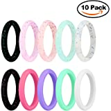 JINGRAYS 10-Pack Silicone Wedding Ring, Silicone Wedding Band for Women, Thin and Stackable Durable Comfortable Antibacterial Rubber Rings Band
