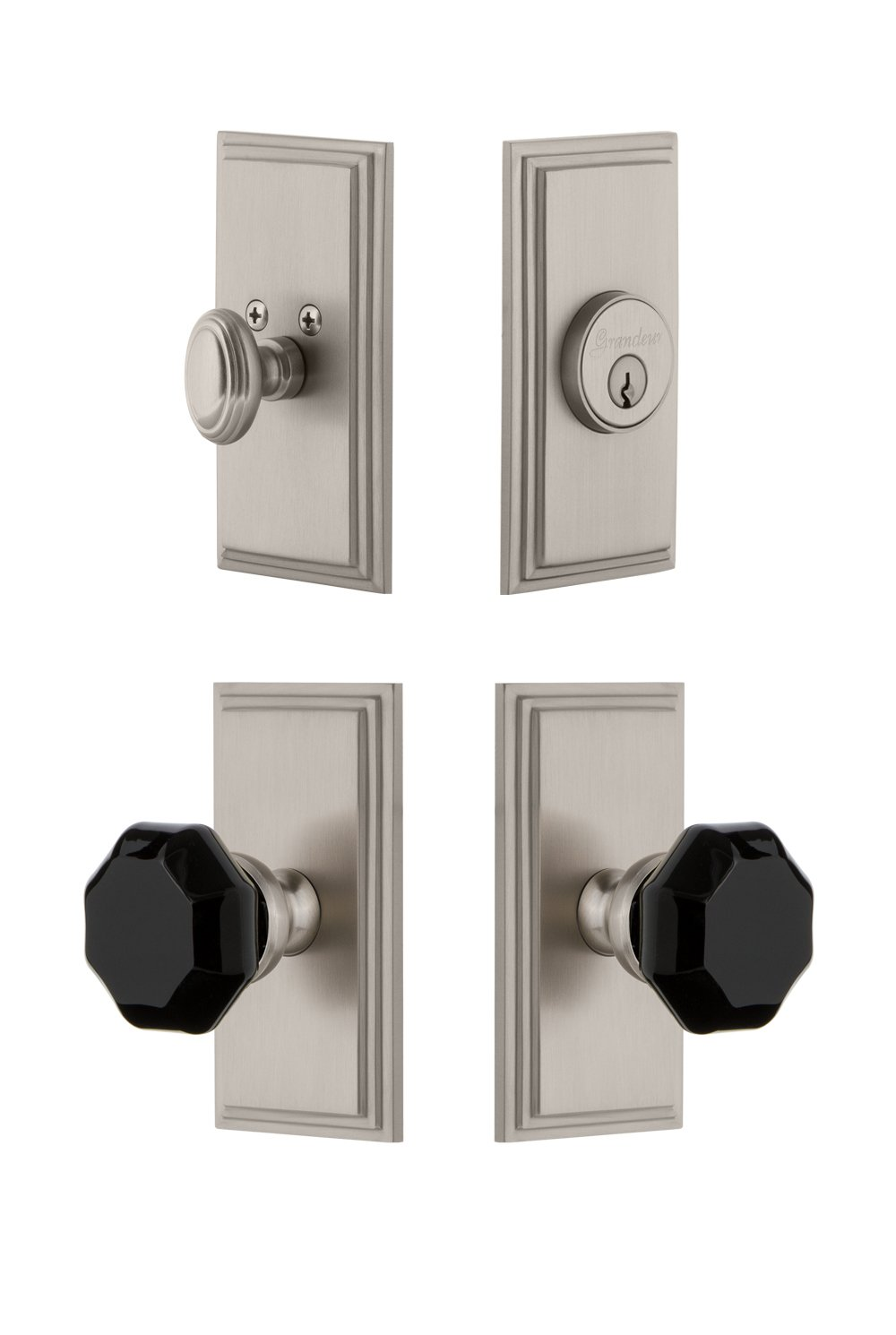 2.375 Polished Nickel Grandeur Hardware 851145 Carre Plate with Lyon Knob and Matching Deadbolt Combo Pack Backset Size