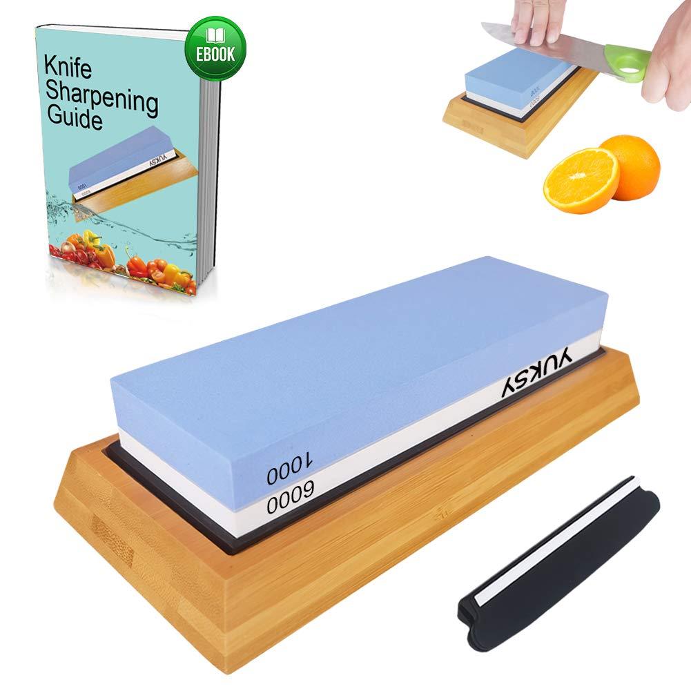 Premium Knife Sharpening Stone Kit, 2 Side 1000 & 6000 Grit Whetstone, Kitchen Blade Sharpener Stone, Non-Slip Bamboo Base & Bonus Angle Guide Included for Chef, Kitchen, Pocket Knife by YUKSY by YUKSY