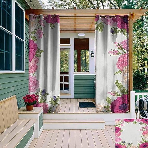 XXANS Cortinas para Ventana de salón/Dormitorio, adornadas Flores Frescas de Verano con Hojas Verdes, para Porche, Playa y Patio, Multicolor: Amazon.es: Jardín