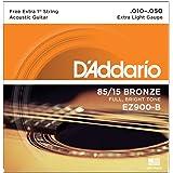 Encordoamento Para Violão Aço .010-.050 Com Corda Extra PL010 D'Addario Bronze 85/15 EZ900-B