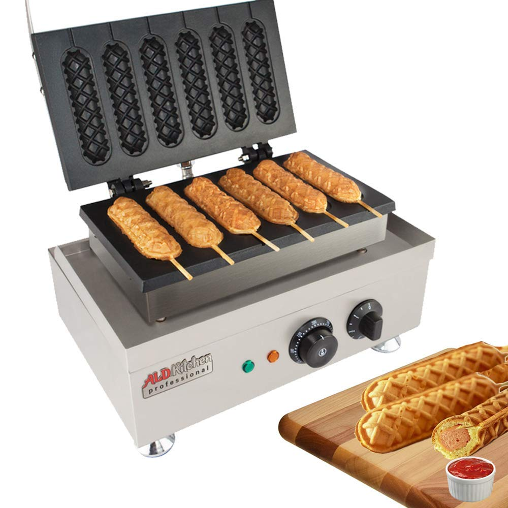 Hot Dog Waffle Maker Commercial 6 PCS Lolly French Hotdog molds 110v   Stainless Steel Crispy Baking Corn Dog, Sausage Waffles Non-Stick MakerMachine Electric Muffin by ALDKitchen (Hot Dog)