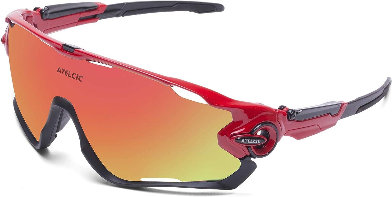 Atelcic Gafas de Sol Deportivas para Ciclismo, Protección UV400 y Montura De TR-90, Resistentes a Golpes Antivaho para Hombre Mujer MTB Bicicleta Correr Montaña y Carretera