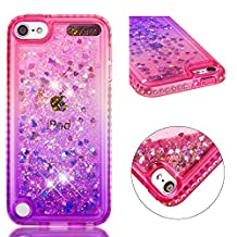 for ipod Touch 5/Touch 6 Case Glitter Liquid and Screen Protector,Gradient Colors Design Shiny Diamond Frame Clear Slim Fit Protective Phone Case,QFFUN Bling Sparkle Floating Quicksand Back Cover Shockproof Anti-Scratch Soft TPU Bumper - Pink and Purple
