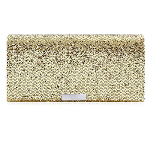 Elegant Damara Gold Medium Womens Party Evening Full Sequins Handbag Clutch 55SrEwqzd