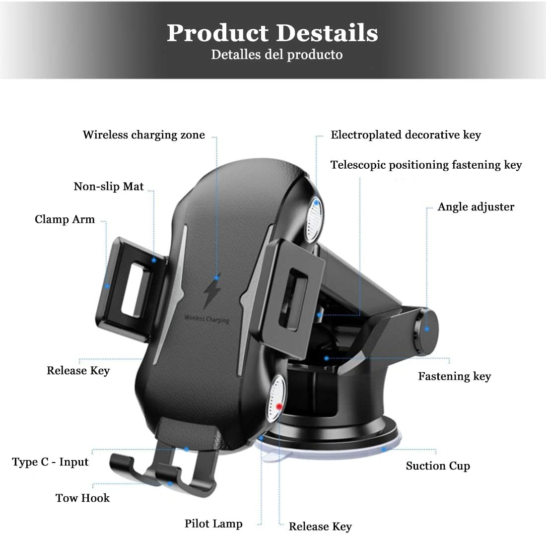 etc. Car Mount for Windshield//Dashboard//Air Vent Compatible with Apple,Samsung,Huawei Series Auto-clamping Dayleer Wireless Car Charger Holder 3 in 1 Qi Intelligent Charging