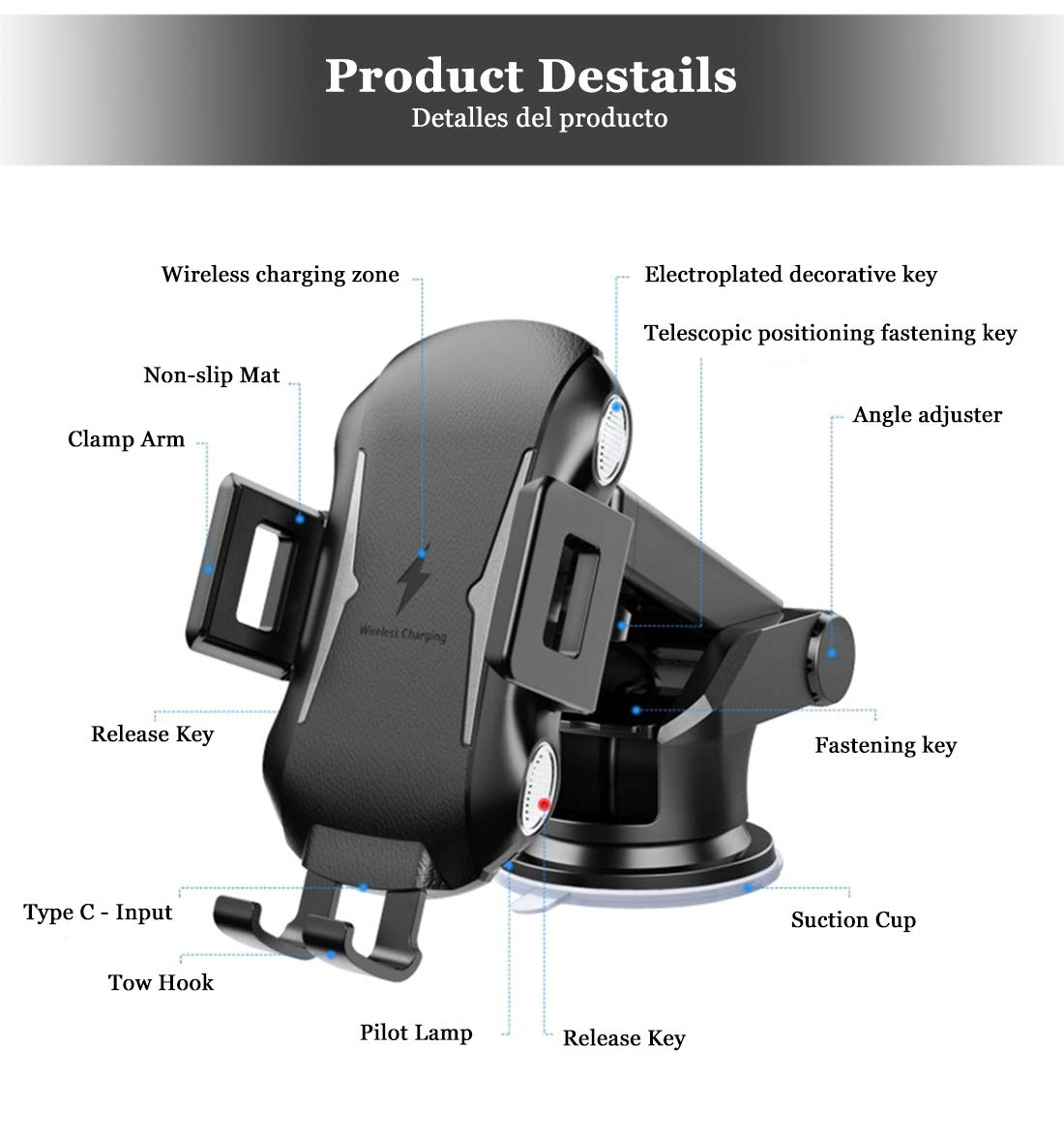 Car Mount for Windshield//Dashboard//Air Vent etc. 3 in 1 Qi Intelligent Charging Compatible with Apple,Samsung,Huawei Series Dayleer Wireless Car Charger Holder Auto-clamping