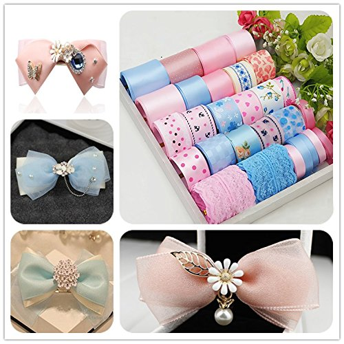 PinkSheep Diy Hair Bow Making Kit- 28yd Ribbon baby headband Glue Gun Sewing Scissors At Least 35 Unique And Fashion Hair Bows