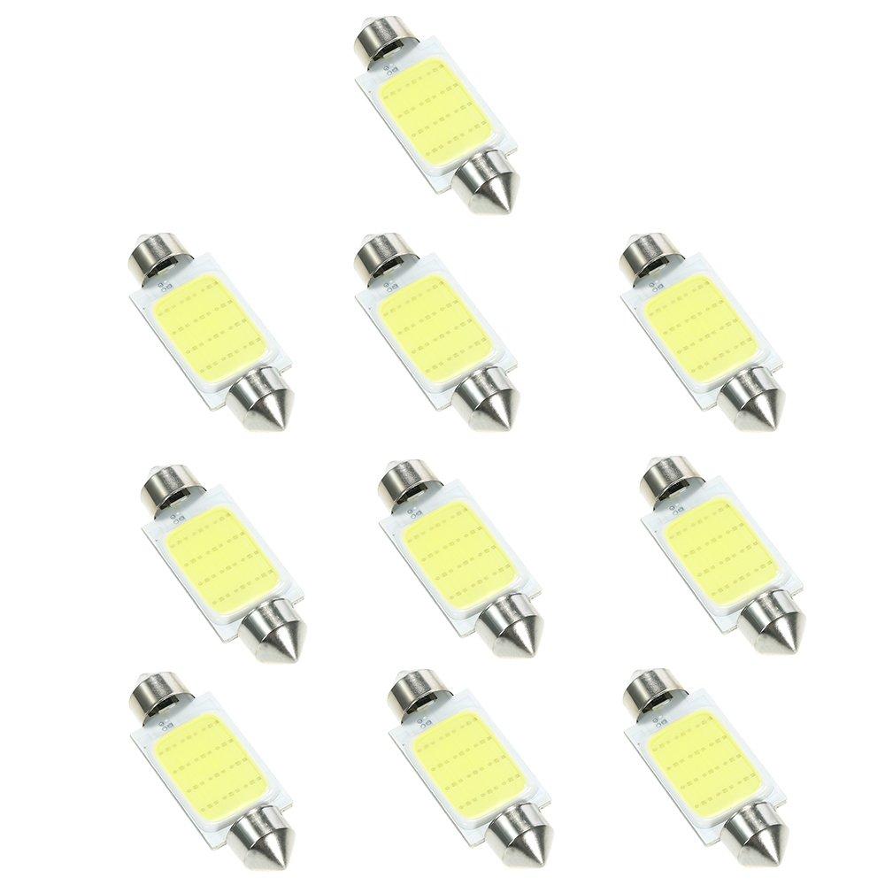 KKmoon 10Pcs Navette 39mm C5W s/n LED Blanc Inté rieur SMD Ampoule Voiture Eclairage Plafonnier Lecture
