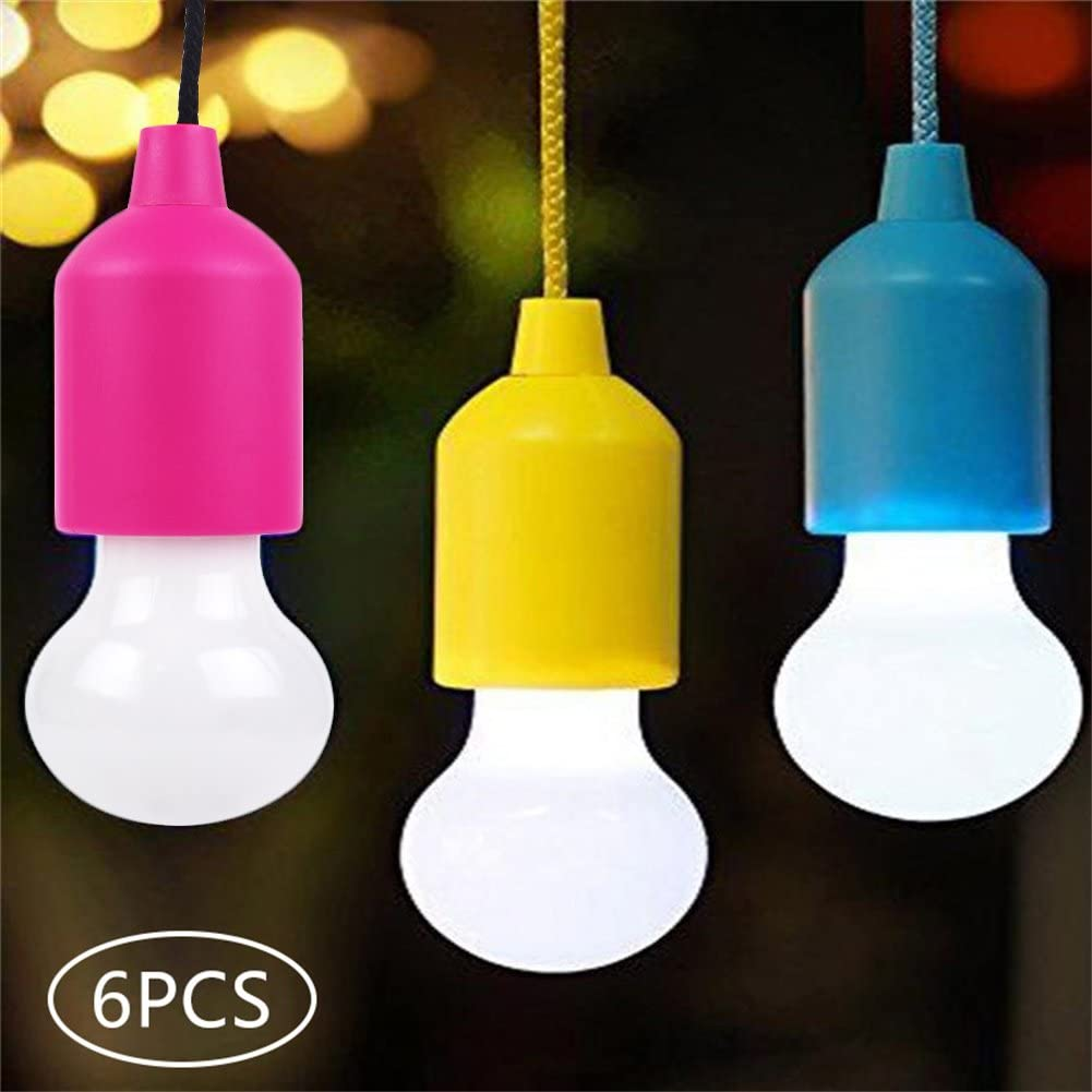 Portable Battery Operated Led Multi-Color Flickering Light Bulb On A Rope LED Pull Cord Light Bulb Outdoor,Gardens,Camping,Parties,BBQs,Cupboards,Weddings,Festivals,Christmas,Celebrations 6 Pack