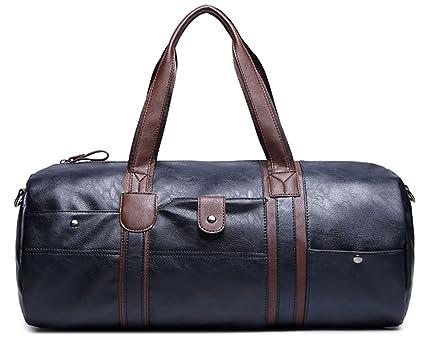 WOMJIA PU Vintage Voyage sac de sport weekender bagage à main de sac de Sac en bandoulière 35L Bleu Bu2pk4bQ