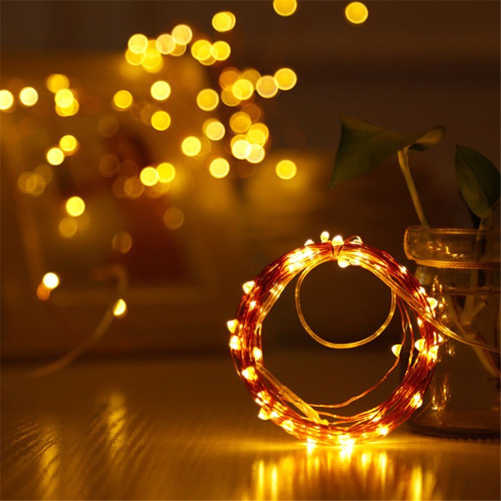 LED Battery String Lights with Remote Control,100 LED 33ft Waterproof Outdoor Lights, for Home Decor Indoor Copper Wire Warm Lights by Voneta (Image #3)