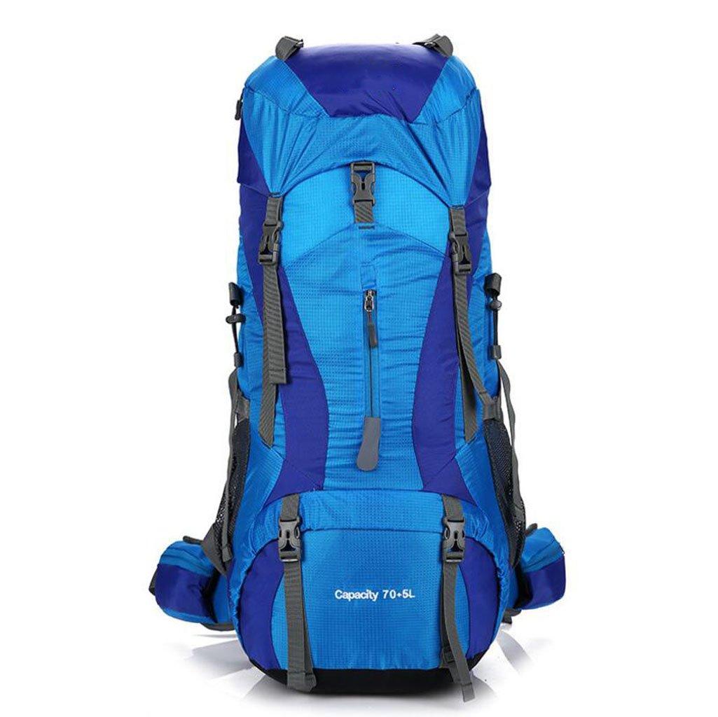 JBHURF Bergsteigenbeutel im Freien kampierende Schulterbeutel der Großen Kapazität 75 + 5L beiläufige Art und Weise Mann- und Frauenumhängetasche (Farbe : Blau)