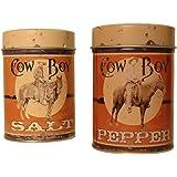 Cowboy Tin Salt and Pepper Shakers Set
