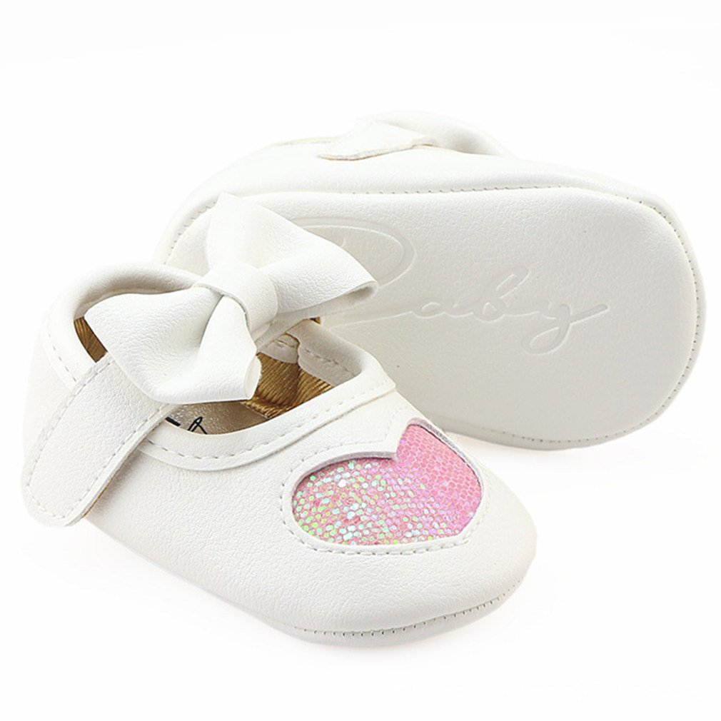Z-T FUTURE Infant Baby Girls Shoes Cute Bow Diamonds Sparkly Mary Jane Crib Dress Princess Shoes