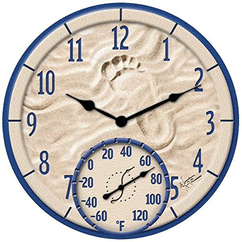 Taylor Products 14'' By the Sea Poly Resin Clock with Thermometer