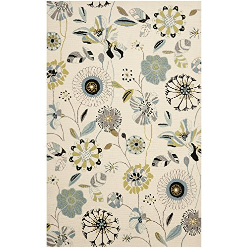 Hand Hooked Blue Rug (Safavieh Four Seasons Collection FRS482C Hand-Hooked Ivory and Blue Indoor/ Outdoor Area Rug (3'6