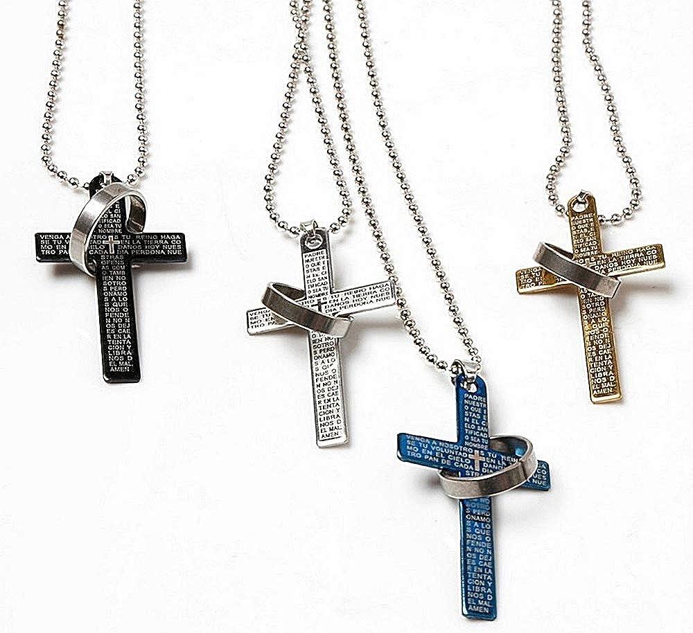 Crocefisso Lovelegis Collana da Uomo Anello Croce Inglese Colore Argento e Blu