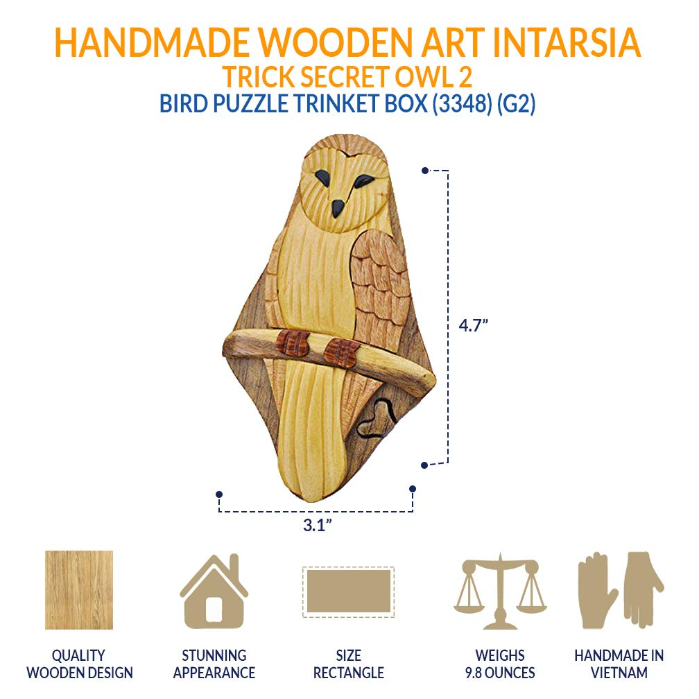 Vietnamese Artists 3348 g2 South Asia Trading Handmade Wooden Art Intarsia TRICK SECRET Owl 2 Bird Puzzle Trinket Box