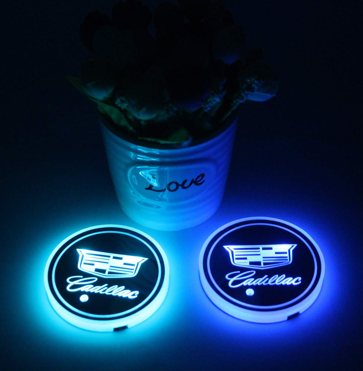 2pcs LED Car Cup Holder Lights 7 Colors Changing USB Charging Mat Luminescent Cup Pad Mazda LED Interior Atmosphere Lamp for Interesting car