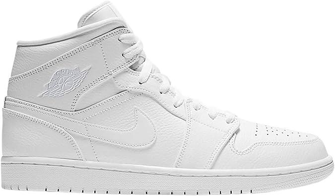 Jordan Mens Air Jordan 1 Mid White Pure Platinum White Size 10.5