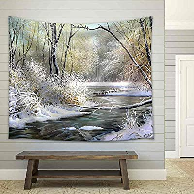 Winter Landscape with The Wood River Fabric Wall, Top Quality Design, Alluring Craft