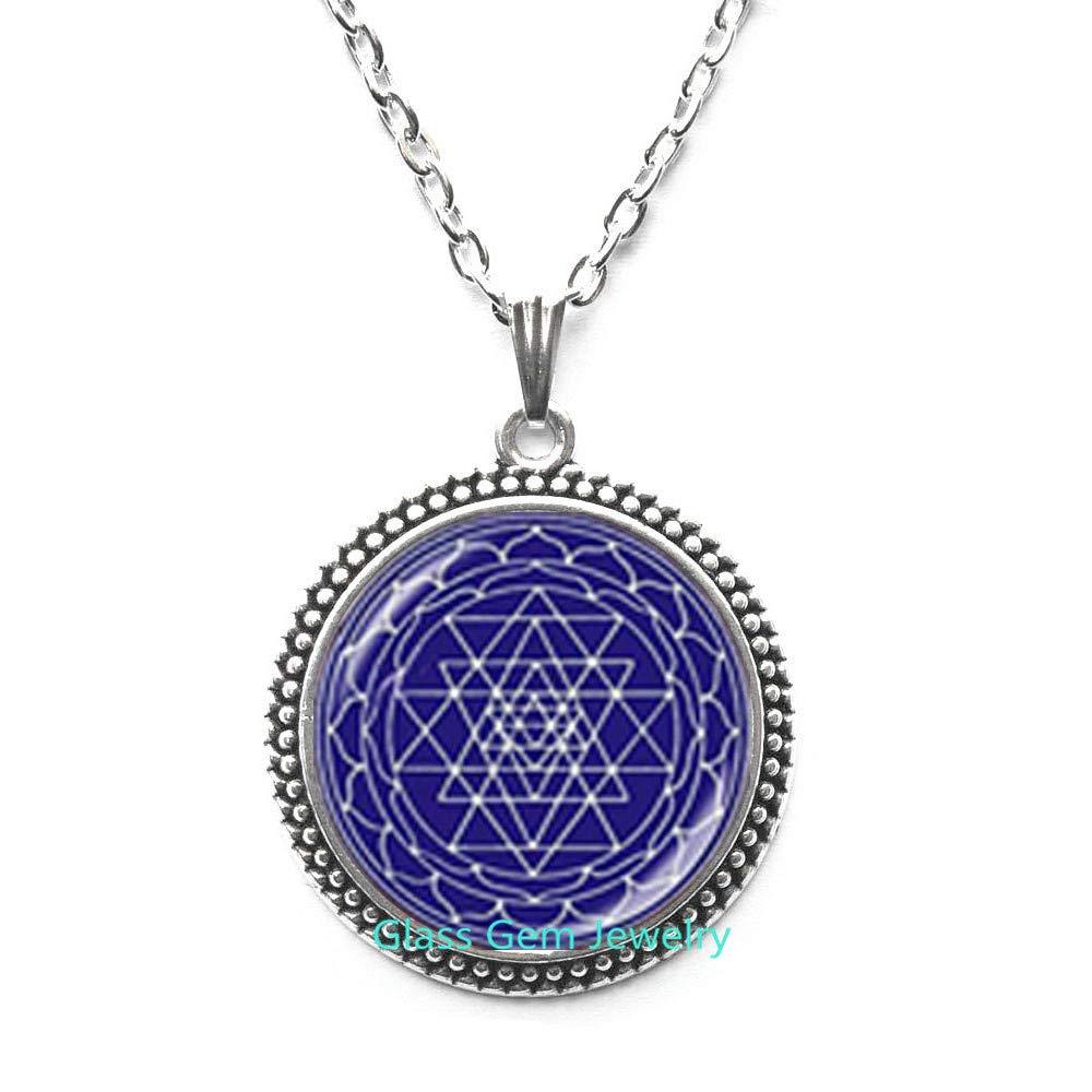 Sri Yantra Locket Necklace Sacred Geometry Locket Pendant Chakra Buddhist Reiki Jewelry Meditation Yoga Locket Necklace Jewellery Best Gifts,Q0236