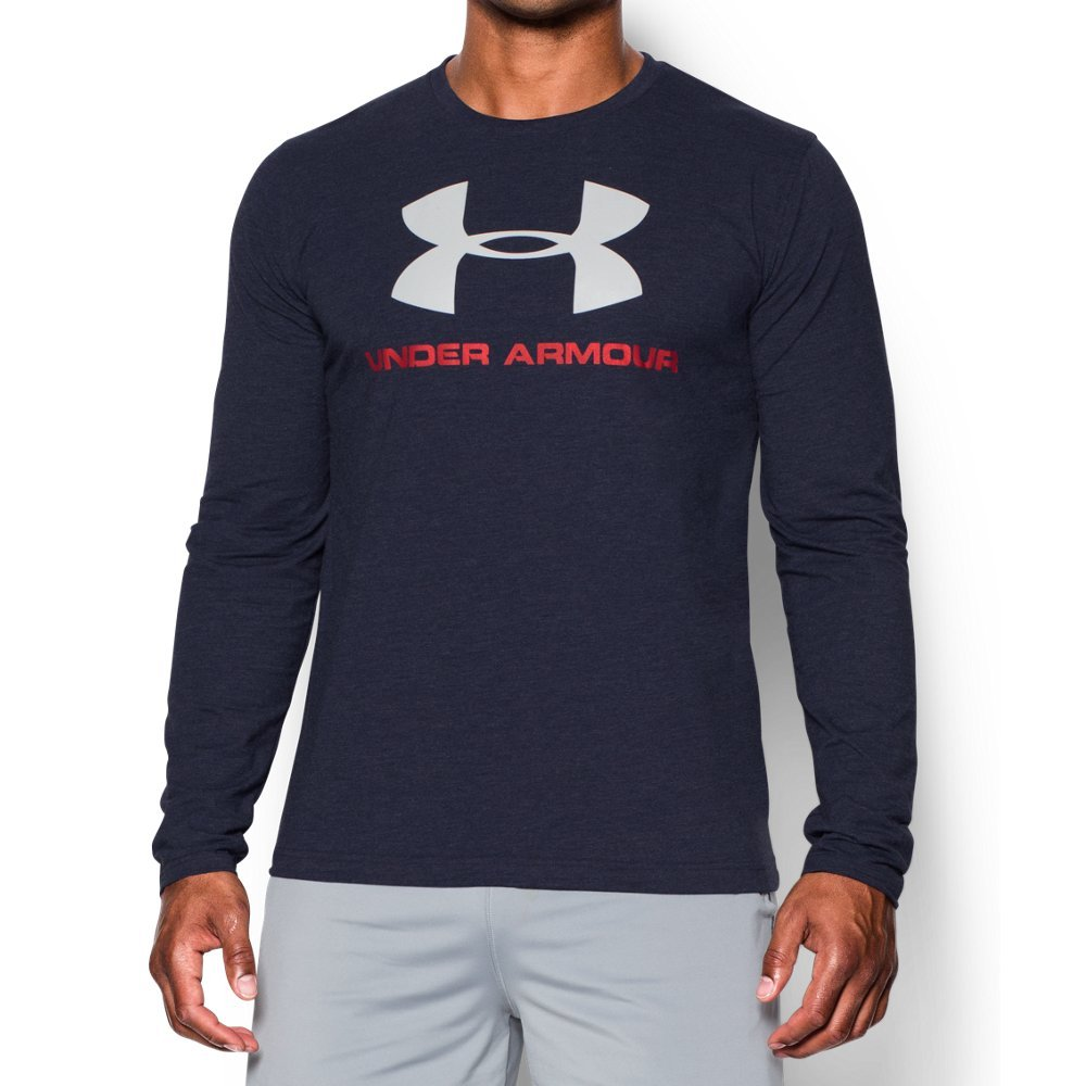 Under Armour Men's Sportstyle Long Sleeve T-Shirt, Midnight Navy /White, Medium by Under Armour (Image #1)
