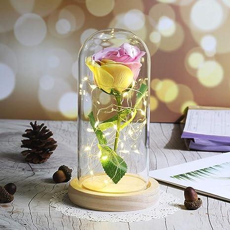 Artificial Flor Lámpara De CRSM Led Bombilla Flor Rosa De 9EDHW2I