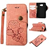 HHF Hats & Caps for Samsung Galaxy A3 (2016) A310, Luxury Retro Rose Premium PU Leather Magnetic Closure Flip Wallet Protective Case with Lanyard (Color : Pink)