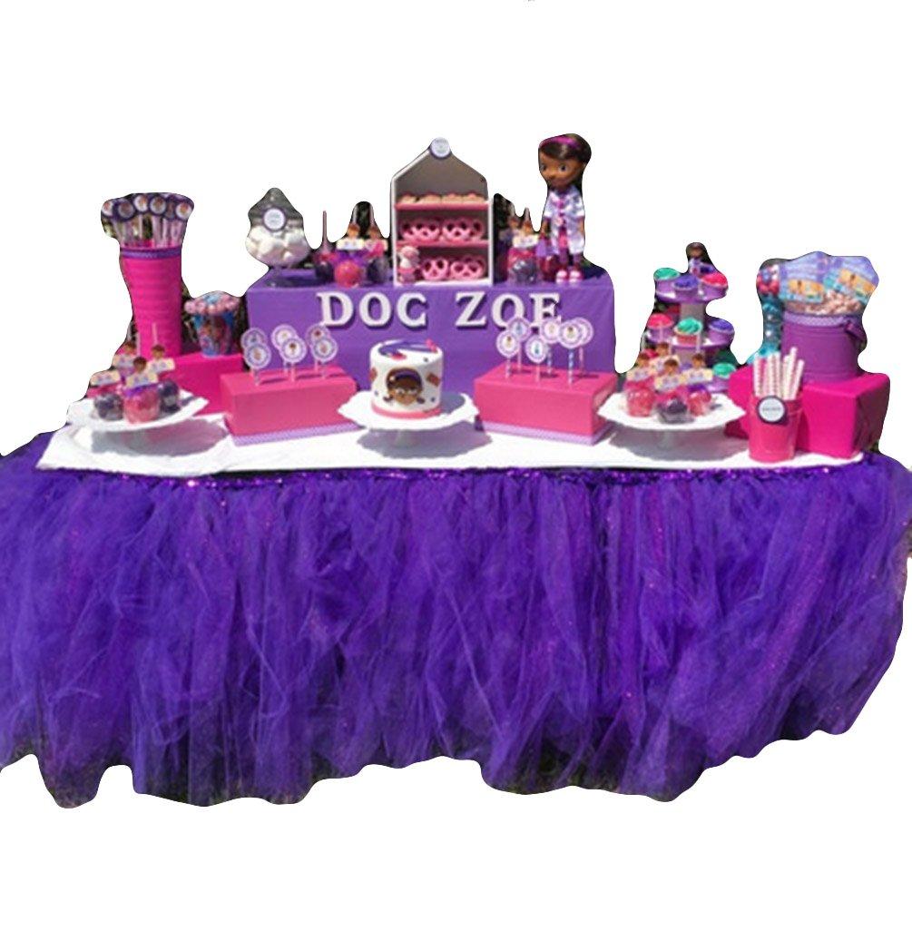 Tulle Tutu Table Skirt- Romantic Tulle Desk Gauze for Wedding Birthday Party Table Decoration, Wonderland Tutu Table Cloth (Purple)