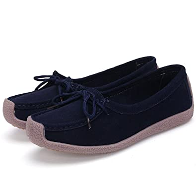 Hishoes Womens Suede Leather Moccasins Casual Lace Up Loafers Slippers Shoes
