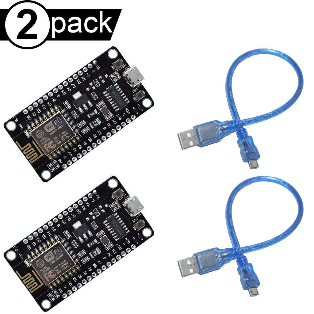 DAOKI 2Pcs WiFi Development Board NodeMcu V3 CH340 Lua Wireless Module ESP8266 Compatible with Arduino IDE//Micropython with Micro USB Cable