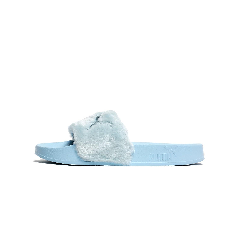 PUMA Women's Fenty x Faux Fur Slides B073X2RRD8 8.5 B(M) US|Cool Blue/Puma Silver