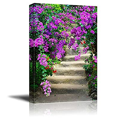 Beautiful Dreamy Colorful Flowers in Blossom and Old Garden Stairway - Canvas Art Wall Art - 12