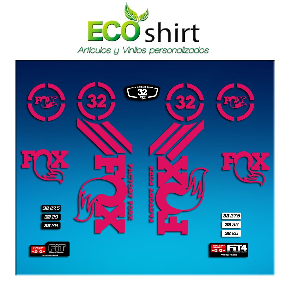 PEGATINAS STICKER FORK FOX 32 AM62 AUFKLEBER DECALS AUTOCOLLANTS ADESIVI FORCELA GABEL FOURCHE (AMARILLO/YELLOW) ECOSHIRT